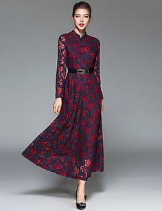 c53a9f6eacc SUOQI Women s Casual Daily Simple Sheath Lace Swing Dress