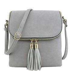 Flap Top Double Compartment Crossbody Bag with Tassel Acc..