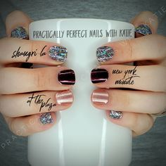 Color Street is Nail Polish Strips that can be applied in minutes with no tools and no dry time. This manicure includes: New York Minute, Shangri-La, & At the Plaza. Fancy Nails, Love Nails, Pink Nails, How To Do Nails, Pretty Nails, Neon Nails, Black Nails, Nail Color Combos, Nail Colors