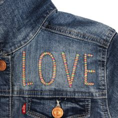 Levi's Baby/Toddler/Big Kid Custom Embroidered Denim Trucker Jacket (Size: 5 y) Denim Jacket Embroidery, Embroidered Denim Jacket, Embroidery On Clothes, Embellished Jeans, Embroidered Clothes, Embroidery Ideas, Jean Embroidery, Embroidery Hoops, Patched Jeans