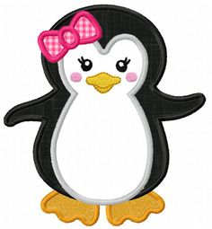 Girl Penguin  Applique Machine Embroidery by JoyousEmbroidery, $2.99