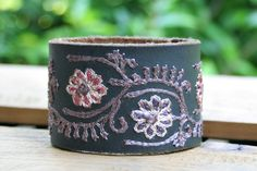 CUSTOM HANDSTAMPED purple leather cuff with stitching by mothercuffer by mothercuffer on Etsy