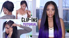 How to Clip in Hair Extensions on Short or Natural Hair + Custom Purple Color [Video] - https://blackhairinformation.com/video-gallery/clip-hair-extensions-short-natural-hair-custom-purple-color-video/