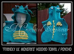 """My fave A Crocheted Simplicity pattern. Currently working on a green/pink one for a little girl who loves swimming and storybooks!  Ravelry: """"Friendly Lil' Monsters"""" Poncho Style Swim Cover-Ups pattern by Jennifer Pionk"""