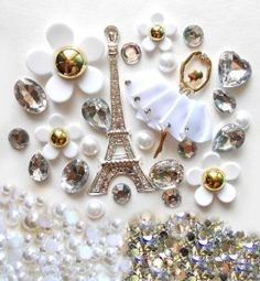 DIY 3D Silver Eiffel Tower Bling Cell Phone Case Resin Flat back Kawaii Cabochons Deco Kit / Set -- lovekitty,$17.98
