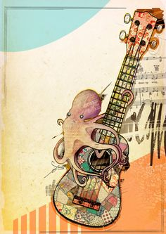 Absolute Beginners - designs for a ukulele collective by Suzi Smith, via Behance Ukulele Tattoo, Ukulele Art, Cool Ukulele, Ukelele, Ukulele Drawing, Drawing Block, Kawaii Doodles, Surf Art, Cards For Friends