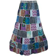 Mogulinterior Boho Patchwrork Skirt pink Vintage Style Long Hippie Gypsy Peasant Skirts for Womens