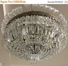 Sale Murano Chandelier, Crystal Chandelier, Murano Chandelier, Vintage Flushmount Chandelier, Wiring Comp USA, Free Shipping USA by TheEnglishSisters on Etsy https://www.etsy.com/uk/listing/587781962/sale-murano-chandelier-crystal