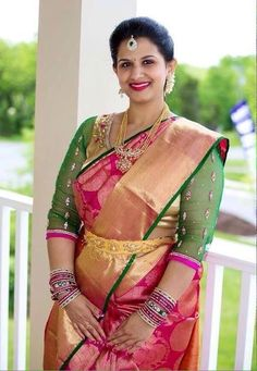 South Indian bride. Hindu bride. Kanchipuram silk sari with contrast blouse. Tamil bride. Telugu bride. Kannada bride. Malayalee bride.
