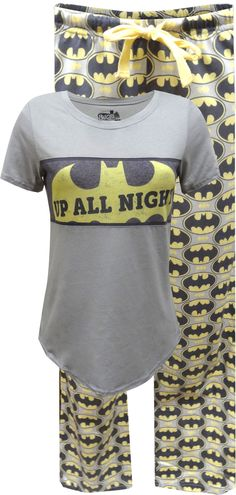 Classic styling! These awesome cotton pajamas for plus size ladies feature DC Comics Bat logo, used for both Batman and Batgirl on a…