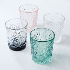 Absolutely love these glasses in any colour except clear. Decorated Hobstar Glassware / West Elm