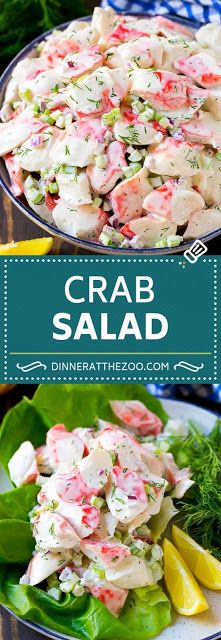 Here you will find the ways to make different yet healthy salad recipes and they are not hard to make too. All of these healthy salad recipes look so tempting. Salad Recipes – Healty Salad Recipes Kathy kackyr Soups,Salads & Slaws Here you will fin Sea Food Salad Recipes, Fish Recipes, Seafood Recipes, Gourmet Recipes, Cooking Recipes, Keto Recipes, Crab Salad Recipe Healthy, Seafood Appetizers, Lunch Recipes
