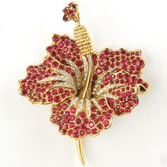 Boucher Gold and Pave Ruby Lily Pin ca 1962