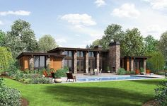 Plan 69587AM: Modern House Plan with Front To Back Living