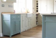 Painted Kitchen - Birch ply cabinets and hardwood frames. | Like the use of mix of colours for the base untis