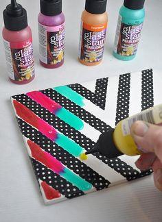 DecoArt Blog - Crafts - Rainbow Glass Stained Chevron Art Tile
