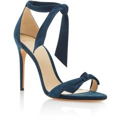 Alexandre Birman Clarita Suede Sandals (1,950 PEN) ❤ liked on Polyvore featuring shoes, sandals, heels, blue, alexandre birman, blue sandals, blue shoes, tie sandals and blue heeled shoes