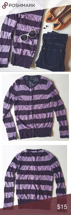 Gap cardigan Gap cardigan. Size: medium. 90% cotton & 10% alpaca. Dark violet stripes on a lighter violet. Lightweight and buttons up. Lightly worn. GAP Sweaters Cardigans