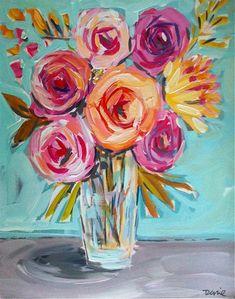 Flowers Painting Canvas Roses Peonies..wall by DevinePaintings