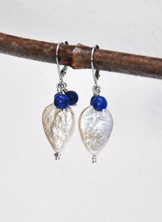 Garden inspired Lapis and Pearl Earrings, Laurie Ashbach, Arise Designs