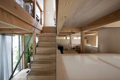 Double Circular Rings - Todoroki - Teppei Fujiwara Architects Labo - Small House Japan - Staircase - Humble Homes Interior Architecture, Interior And Exterior, Japanese Architecture, Labo Photo, House Tokyo, Open Floor House Plans, Self Build Houses, Wood Staircase, Interior Design Boards