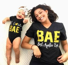 Excited to share the latest addition to my shop: BAE Best Auntie Ever I Love Bae Matching Aunt/Niece Shirts Aunt Life Niece Life Sparkle Trendy Funny Vneck Loose Fit matching baby. - July 06 2019 at Funny Baby Shirts, Funny Baby Clothes, Funny Shirts Women, Funny Babies, Girl Shirts, Funny Women, Tee Shirts, Baby Outfits, Emma Bebe
