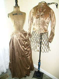 Antique Victorian Dress Ball Gown 1870 Silk Polonaise Smocked Bustle  Buttons
