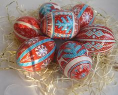 Red  Pysanka with Love birds Doves design by UkrainianEasterEggs, Christmas Decoration/Tree..pretty and unique..