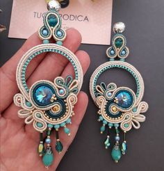 The Final Result 😍😍 I am happy😊😊😊 Gold Bridal Earrings, Lace Earrings, Soutache Earrings, Handmade Necklaces, Handmade Jewelry, Bead Embroidery Jewelry, Shibori, Turquoise Jewelry, Jewelry Design