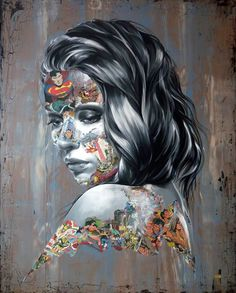 Adding a superhero comic book mash-up to her distinctive portraiture, French artist Sandra Chevrier has been creating bold paintings for a few years. The style of the artworks look like collages of newspaper. Collage Portrait, Portraits, Collage Art, Collages, Digital Collage, Sandro, Sandra Chevrier, Gcse Art Sketchbook, Sketchbooks