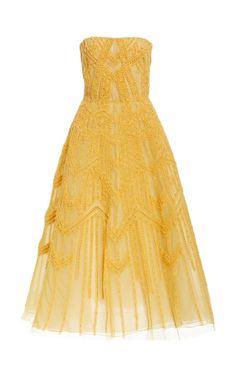 Glitter-Embellished Tulle Midi Dress by J. MENDEL for Preorder on Moda Operandi Strapless Dress Formal, Formal Dresses, Hemline, Tulle, Gowns, Summer Dresses, Elegant, Pretty, Skirts