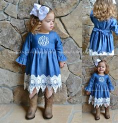 monogrammed baby denim dress with lace - Google Search