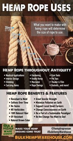 Hemp Rope Benefits, Uses & Features | Infographic brought to you by Bulk Hemp Warhhouse