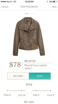 {Interested in trying a faux leather jacket like this, and the price is right on this one!} Stitch Fix RD Style Rhonda Faux Leather Jacket #StitchFix
