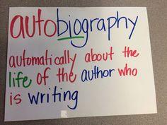 Genre- Autobiography Description Anchor Chart