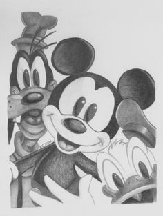 Mickey and friends by KerstinSchroeder on DeviantArt Disney Character Drawings, Disney Drawings Sketches, Cute Cartoon Drawings, Cartoon Sketches, Art Drawings Sketches Simple, Pencil Art Drawings, Cartoon Art, Original Disney Sketches, Mickey Mouse Sketch