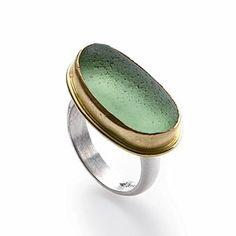 Sea Glass Jewelry...... 14-Karat Gold Bezel Set Natural Seaglass Ring..... lisahalljewerly.com
