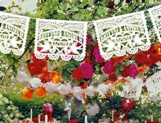 3 pack - Personalized Wedding Garland Papel Picado WHITE Banners LOVE BIRDS Fiesta - Mexican Hand Cut Tissue Paper with names and date