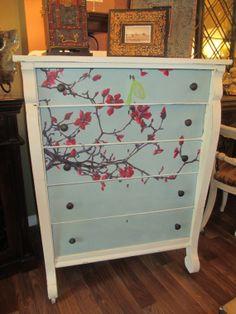 peach blossom painted cabinet by wwwchichomestorecom on Etsy, $390.00