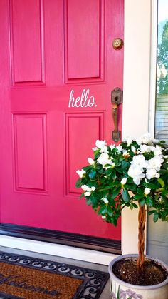 """Been seeing this #trend a lot recently and loving it! The """"Hello"""" creates an inviting appeal to the front door. #decor #frontdoor #curbappeal"""