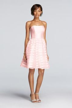 The striped organza skirt on this short strapless bridesmaid dress is designed for twirling. A lustrous mikado bodice adds to the polished vibe.  Polyester  Back zipper; fully lined  Dry clean  Imported Protect your dress before you wear it with our Garment Bag.