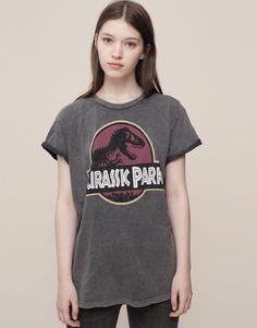 Pull&Bear - mujer - camisetas y tops - camiseta jurassic park - gris antracita - 09232349-I2015