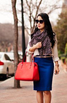 cute & little blog | pattern print mixing outfit | black white polka dot shirt, heart print scarf, bow belt, cobalt blue pencil skirt, kate spade elissa red bag