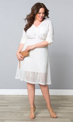 Muse Lace Midi Skirt, Soft Pearl (Women's Plus Size) From the Plus Size Fashion Community at www.VintageandCurvy.com