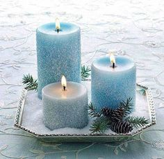 pale blue candles with Epsom salt snow?