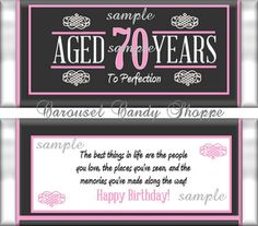 Image result for greetings cards for 80 years old man 80th 70th birthday party favors hersheys candy bar wrappers pink m4hsunfo