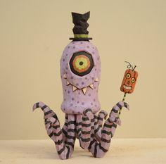 Cycloptopus Primitive Folk Art Woodcarving by JoyHallFolkArt on Etsy https://www.etsy.com/listing/200874409/cycloptopus-primitive-folk-art