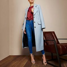 RI Studio light blue longline peacoat
