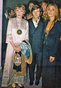Sharon is seen here with Mia Farrow and Roman Polanski at the Paris premiere of Rosemary's Baby in 1968.