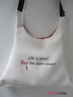 Een tas voor shopaholics: kies zelf uw tekst/stof/model tas
